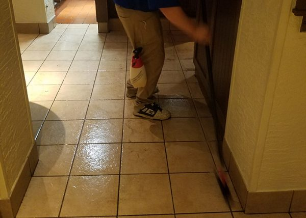 Commercial grout scrubbing